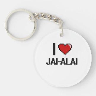 Amo el diseño retro de Jai-Alai Digital Llavero Redondo Acrílico A Una Cara