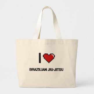 Amo el diseño retro de Jiu-Jitsu Digital del Bolsa Tela Grande