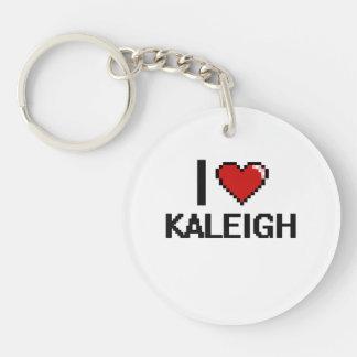 Amo el diseño retro de Kaleigh Digital Llavero Redondo Acrílico A Una Cara