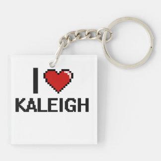 Amo el diseño retro de Kaleigh Digital Llavero Cuadrado Acrílico A Doble Cara
