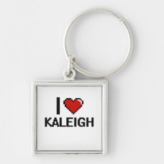 Amo el diseño retro de Kaleigh Digital Llavero Cuadrado Plateado