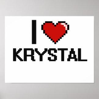 Amo el diseño retro de Krystal Digital Póster