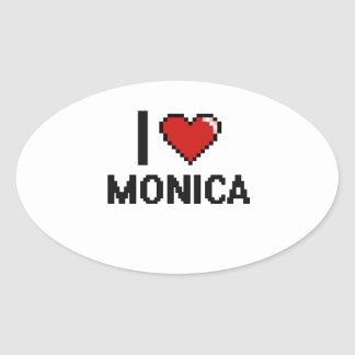 Amo el diseño retro de Mónica Digital Pegatina Ovalada