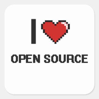 Amo el diseño retro de Open Source Digital Pegatina Cuadrada