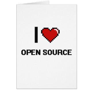 Amo el diseño retro de Open Source Digital Tarjeta De Felicitación