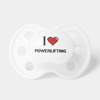 Amo el diseño retro de Powerlifting Digital Chupetes De Bebé