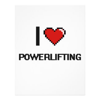 """Amo el diseño retro de Powerlifting Digital Folleto 8.5"""" X 11"""""""