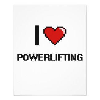 """Amo el diseño retro de Powerlifting Digital Folleto 4.5"""" X 5.6"""""""