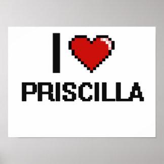 Amo el diseño retro de Priscilla Digital Póster