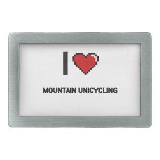 Amo el diseño retro de Unicycling Digital de la Hebillas De Cinturon Rectangulares
