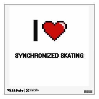 Amo el diseño retro patinador sincronizado de