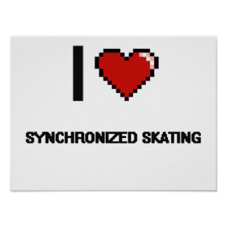 Amo el diseño retro patinador sincronizado de póster