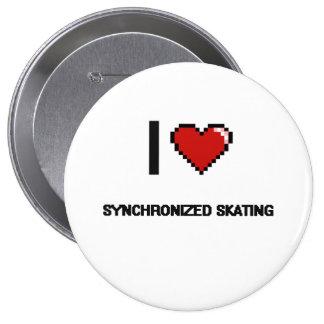 Amo el diseño retro patinador sincronizado de chapa redonda 10 cm