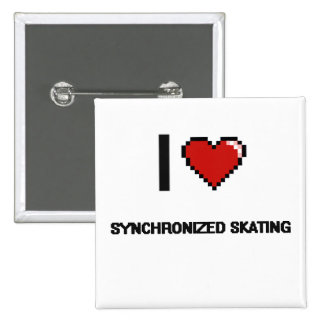Amo el diseño retro patinador sincronizado de chapa cuadrada 5 cm