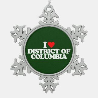 AMO EL DISTRITO DE COLUMBIA ADORNO DE PELTRE EN FORMA DE COPO DE NIEVE