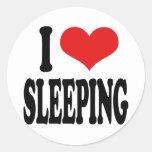 Amo el dormir etiquetas redondas