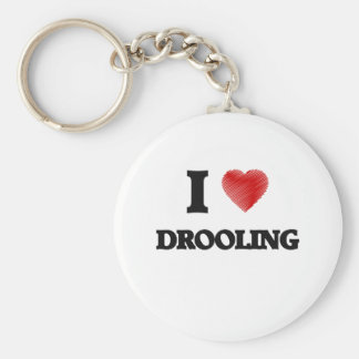 Amo el Drooling Llavero Redondo Tipo Pin