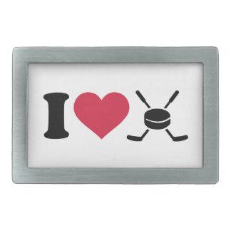 Amo el duende malicioso de los palillos de hockey hebillas cinturon rectangulares