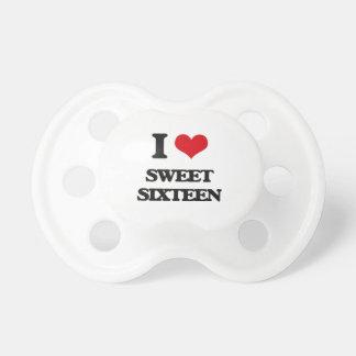 Amo el dulce dieciséis chupetes de bebé