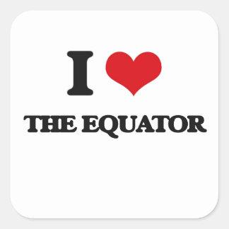 Amo el ecuador pegatina cuadrada