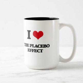 Amo el efecto del placebo taza de café de dos colores