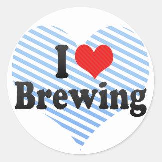 Amo el elaborar cerveza etiquetas redondas