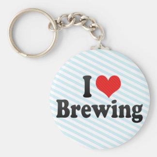Amo el elaborar cerveza llaveros
