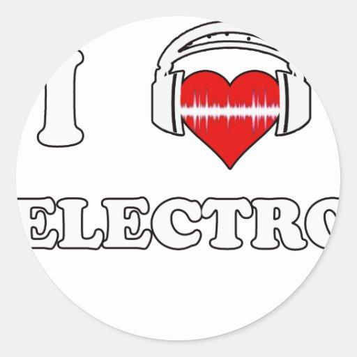 Amo el electro pegatina redonda