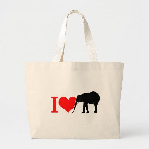 Amo el elefante bolsas de mano