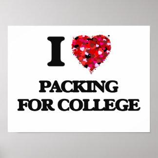 Amo el embalar para la universidad póster