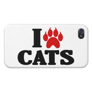 Amo el emblema de los gatos iPhone 4/4S carcasa