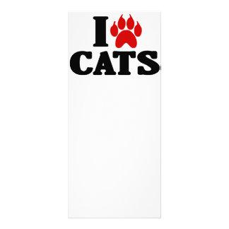Amo el emblema de los gatos tarjeta publicitaria a todo color