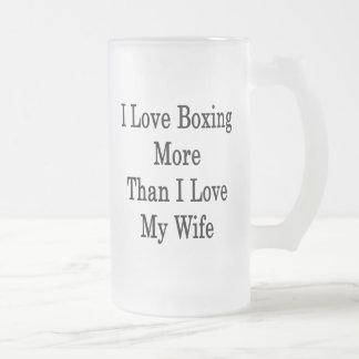 Amo el encajonar más que amor de I mi esposa Taza Cristal Mate