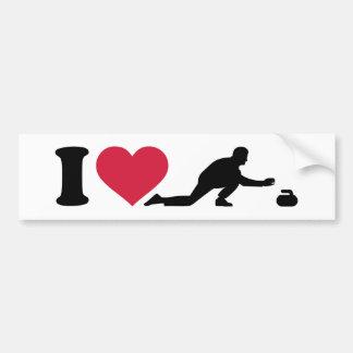 Amo el encrespar del jugador etiqueta de parachoque