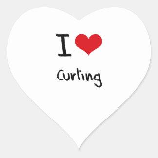 Amo el encresparme pegatina en forma de corazón