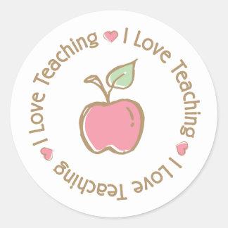 Amo el enseñar de Apple Pegatina Redonda