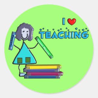 """""""Amo el enseñar"""" los profesores de los regalos Pegatina Redonda"""