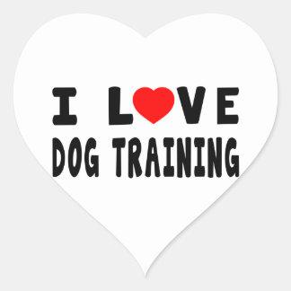 Amo el entrenamiento del perro pegatina corazon personalizadas