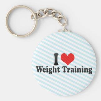 Amo el entrenamiento del peso llaveros personalizados