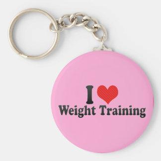 Amo el entrenamiento del peso llavero