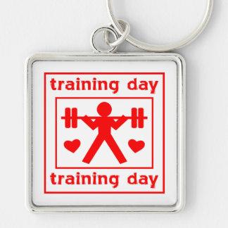 Amo el entrenar de día llavero cuadrado plateado
