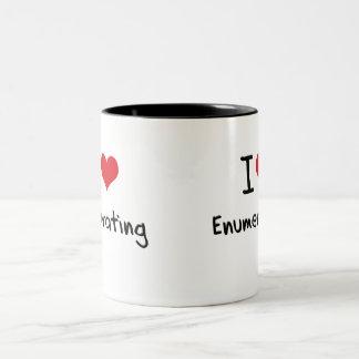 Amo el enumerar taza de dos tonos