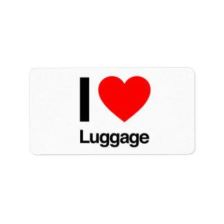 amo el equipaje etiquetas de dirección