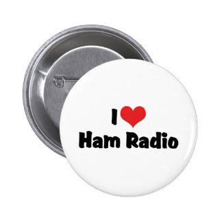 Amo el equipo de radio-aficionado pin redondo de 2 pulgadas