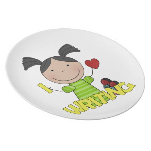 Amo el escribir los niños de la diversión de la pl plato de comida
