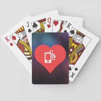Amo el escuchar la música barajas de cartas