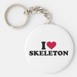 Amo el esqueleto llavero redondo tipo pin