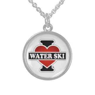 Amo el esquí acuático collares de plata esterlina