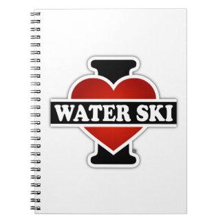Amo el esquí acuático spiral notebook