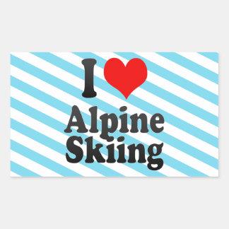 Amo el esquí alpino pegatina rectangular